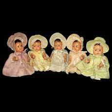 Rare ca 1930's composition Dionne Quintuplet Dolls by Effanbee