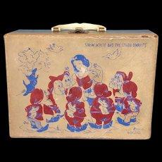 Disney Snow White & Seven Dwarfs Child's Carrying Case by Neevel ca 1940-50's era