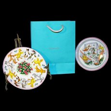 """Vintage 2 Pc Tiffany & Co. Child's Plate & Bowl  in """"Tiffany Playground"""" pattern with Tiffany gift bag"""