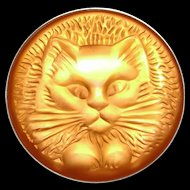 Vintage Lalique Glass Cat / Kitten Pin / Brooch Fabulous!