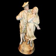 Large Heubach Porcelain Romantic Figural Couple - Nice!