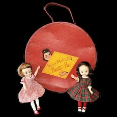 "Two 8"" Vintage Betsy McCall Dolls with Wardrobe and Pretty-Pac Carrying Case"