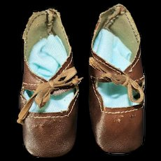 Antique Oil-Cloth Shoes for Compo or French/German Bisque Dolls