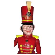 "Ultra RARE Radio Advertising Doll - GE Radio ""Bandy"" Doll by Cameo - 19"" Wooden Marching Bandleader Mascot Doll = Wow!"