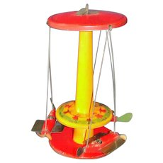 """Rare 1930's Lithographed Tin Toy """"Aero Speeders"""" Carousel By Buffalo Toy Co. Made in USA"""