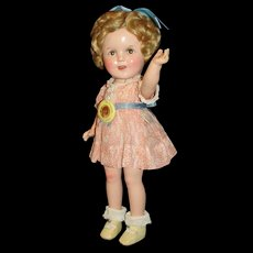 """Rare 13"""" Composition Flirty- Eye Makeup Shirley Temple Doll - Later version, in Gorgeous Tagged Peach floral Dress!"""