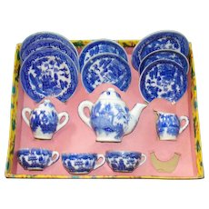 Vintage Blue Willow China Childrens Tea set in Original package!  Little Duchess Brand