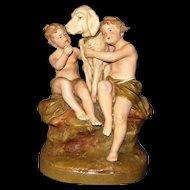 Antique Royal Dux figurine: Big White Dog with Children