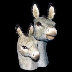 Rare Vintage Ispanky Porcelain Figurine Figural Bust of Donkeys