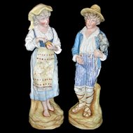 """Grand Pair of Rare Antique German Heubach Bisque Statues / Figurines Male & Female - Boy with monkey! Nearly 15"""" Tall!"""