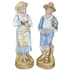 "Grand Pair of Rare Antique German Heubach Bisque Statues / Figurines Male & Female - Boy with monkey! Nearly 15"" Tall!"