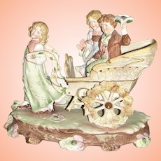 A Beautiful Antique German Figurine of Children on a Cart by Carl Schneider ca 1895