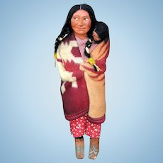 A Wonderful Large Vintage Skookum Doll: Squaw with Papoose