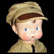 All Original 1930's Effanbee Military Skippy Doll - Fabulous Condition!