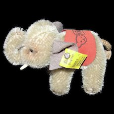 Adorable 1950's Miniature Steiff Elephant w/ Tag & Button