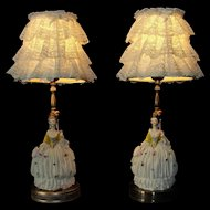 Beautiful Antique Figural Dresden Style Porcelain Colonial Lady Lamps