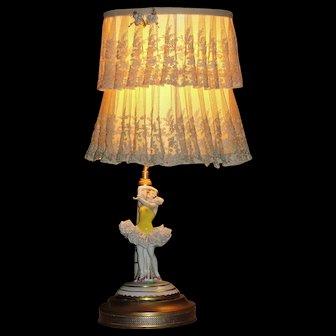 Gorgeous Art Deco Porcelain Dancer Lamp