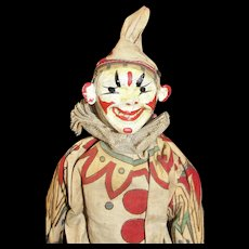 An Antique Schoenhut Clown From The Humpty Dumpty Circus plus original Ladder and 2 Chairs