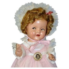 Extraordinary Shirley Temple Wigged Baby Doll 1930's Composition, Flirty-eyes, Tagged Elaborate Costuming!