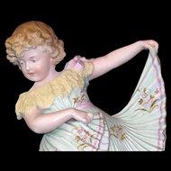 "Beautiful 14"" Antique Gebruder Heubach Dancing Girl Figurine - Flawless!"