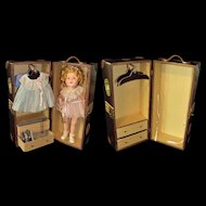 "Outstanding 17"" Shirley Temple Doll with Wardrobe and Remarkable Trunk"