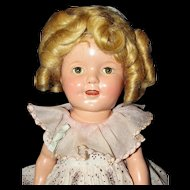 """Sweet 13"""" Composition Shirley Temple Doll in Original Tagged Dress - Excellent Condition!"""