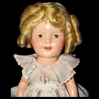 "Sweet 13"" Composition Shirley Temple Doll in Original Tagged Dress - Excellent Condition!"