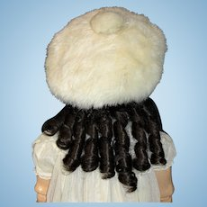 Beautiful Vintage Rabbit Fur Hat for Large Doll or Small Child