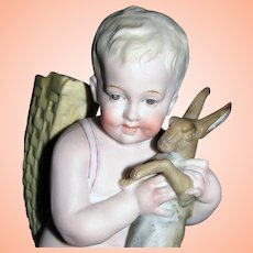 Exquisite Rare Antique French Bisque Figurine Boy with Rabbit / Hare
