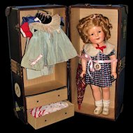"""Excellent 18"""" Shirley Temple with Wardrobe and Trunk"""