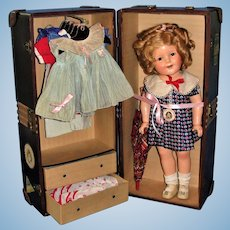 "Excellent 18"" Shirley Temple with Wardrobe and Trunk"