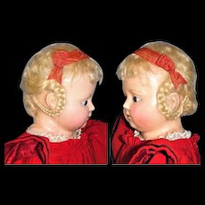 "27"" Wax over Compo Doll in Grand Original Red Wool Dress, English ca 1870-80"