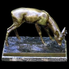 Antique European Bronze of a Roe Dear by listed artist Erich Schmidt-Kestner