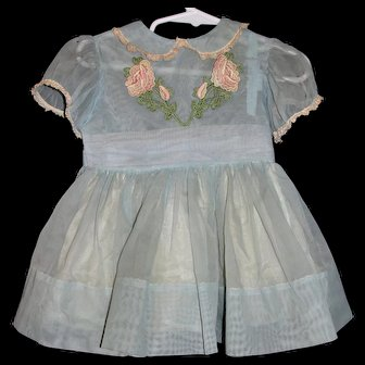 Original 1959 Aqua Party Dress from a Shirley Temple Playpal Doll