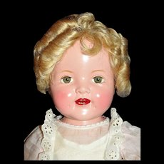 "Fabulous 18"" Baby Shirley Temple ca 1936 in Original Costume and shoes plus extras"