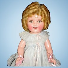 "Marvelous 20"" Shirley Temple Flirty-Eye Makeup Composition Doll In Original box w/Wardrobe!"