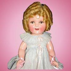 "Marvelous 20"" Shirley Temple Flirty-Eye Makeup Composition Doll In Original box w/Wardrobe!"