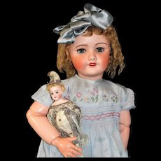 "Beautiful 31"" SFBJ French Doll Mold Number 301 in Original shift dress with label and Gorgeous Silk Dress"