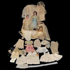 Three French/German Dolls Fabulous 1800's French Hand Painted Storage Box and Contents- Superb!