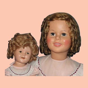 """ON HOLD FOR COLLEEN includes original dress - compo doll and M&M dresses not included -36"""" Playpal Shirley Temple Doll & 1930's Shirley Compo Doll with matching dresses: Mommy & Me - Must See!"""