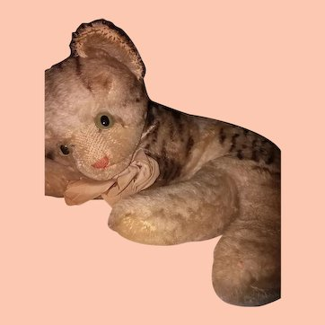 Rare Big Steiff Fiffy Cat! 1950's Adorable & Largest Size Mohair Recumbent Tabby Kitty!