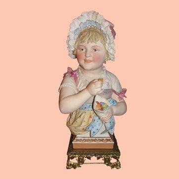 """Heubach Bonnet Girl Bust Extraordinary 17"""" Victorian German Bisque Bust ULTRA RARE!"""