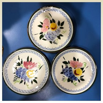 Vintage  three Stangl pottery: bread and butter plates: Fruit and flowers: 1957-1978