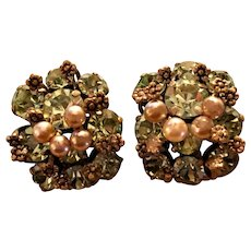 Vintage Rhinestone Clip earrings: