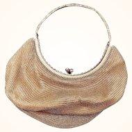 Evening bag: gold mesh: Rhinestone handle: Circle shape: 30s-40s