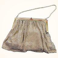 Golden Mesh Evening Bag: Rhinestones: Satin interior: Mirror, change purse:50-60s