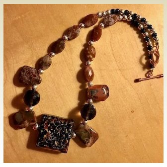 Artisan Glass Stone: Necklace: Browns: Black: 18 inches: