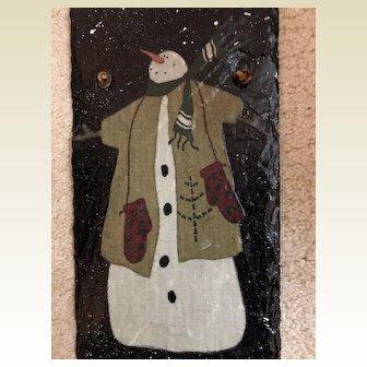 Snowman slate: decoupage leather hanger