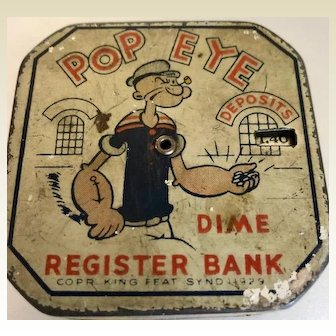 Vintage: Popeye dime register bank : 1929