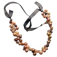 Artisan Necklace: Multi 4 color glass pearls: 24 inches: